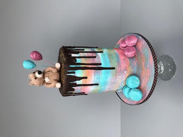 Bear & Macaron Cake