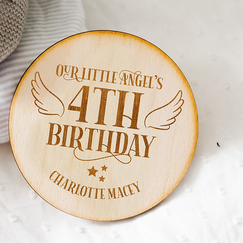 Wooden Birthday Memorial Plaque Keepsake - Angel Wings and Star Design