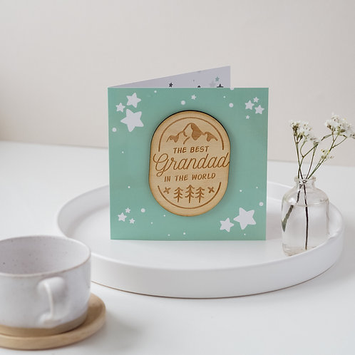 Father's Day / Birthday Card for Grandad with Wooden Gift Token Keepsake