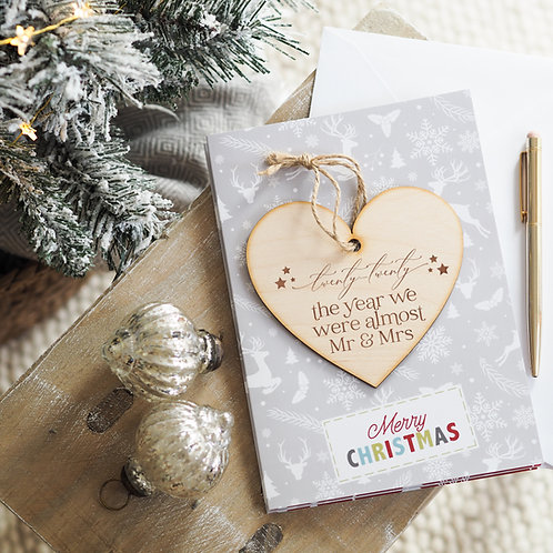 2020 The Year We Were Almost Mr & Mrs Christmas Card with Wooden Bauble