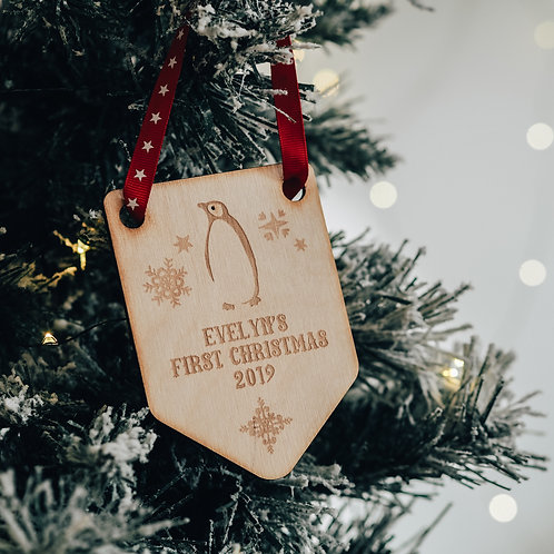 Baby's First Christmas Flag Shaped Tree Decoration with Penguin