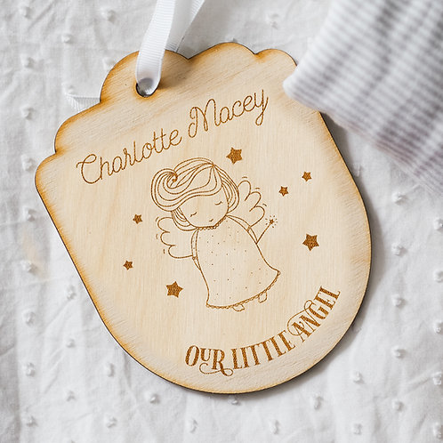 Personalised 'Our Little Angel' Baby Girl Wooden Memorial Hanging Wall Sign