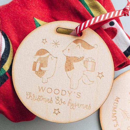 Christmas Eve Pyjamas Wooden Hanger Tag in Bear & Hedgehog Design
