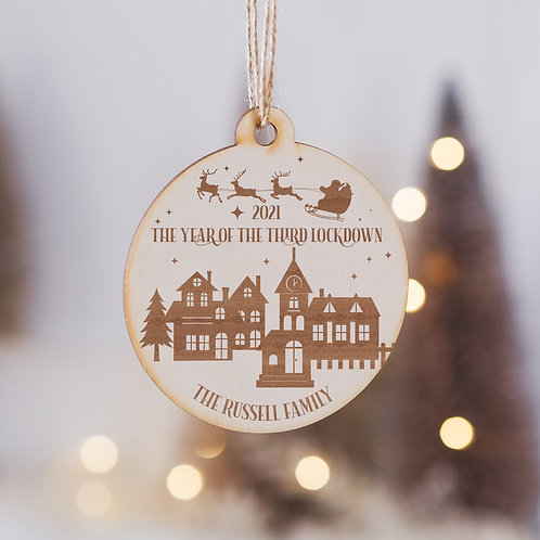 Personalised Christmas 2021 - The Year of the 3rd Lockdown Wooden Bauble