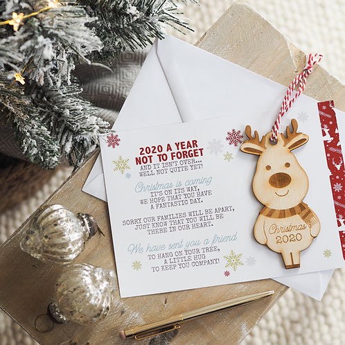 Reindeer Christmas Bauble Gift - Christmas 2020 with Card Poem