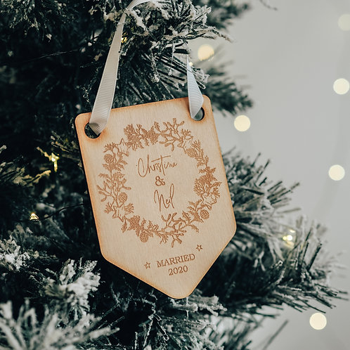 Engaged / Married Couple's First Christmas Flag Shaped Tree Decoration