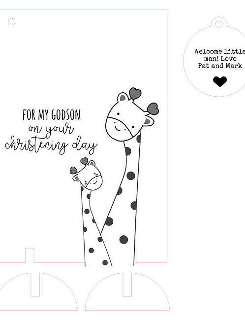 Christening / Baptism Day Wooden Card From Godparents with Giraffe Design