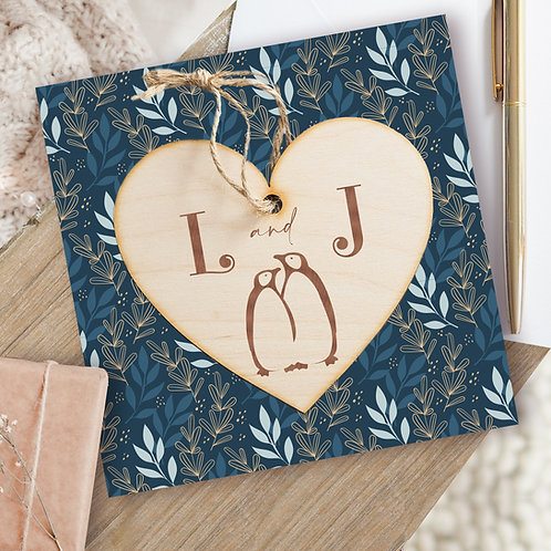 Penguin Valentine's Day Card and Wooden Hanging Heart Plaque
