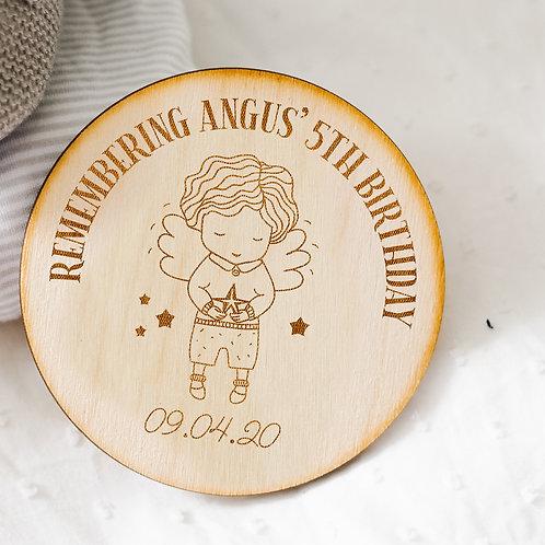 Wooden Birthday Memorial Plaque Keepsake - Baby Boy Angel Design