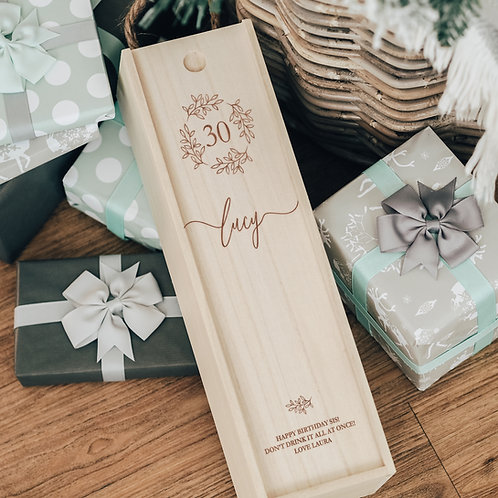 Floral Engraved Birthday Wooden Wine Box with Sliding Lid and Rope