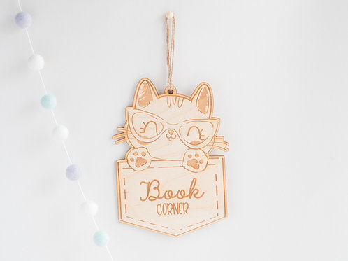 Wooden Book Corner Hanging Sign with Cat Design