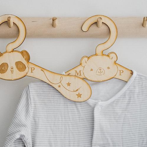 Wooden Nursery Clothes Hanger - Bear, Fox, Deer or Panda Design