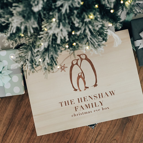 Family Christmas Eve Personalised Wooden Box with Penguins