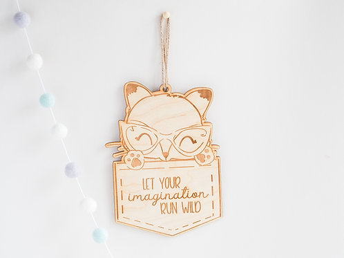 Wooden Nursery / Bedroom Book Shelf Hanging Plaque with Wild Fox Design
