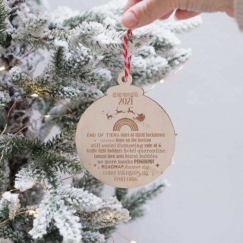 Remembering 2021 Wooden Christmas Tree Bauble Keepsake - Santa & Rainbow Design