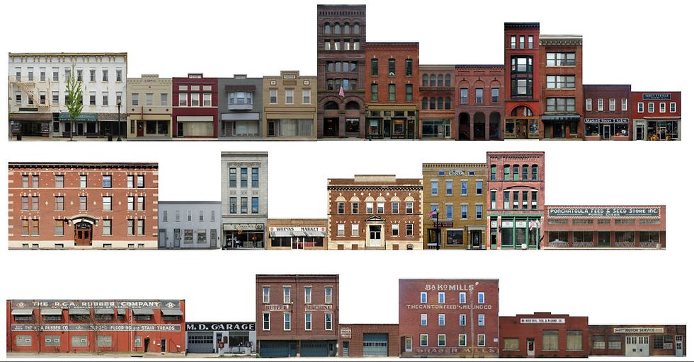 #400 HO scale Commercial Fronts 17 buildings 8 feet of buildings