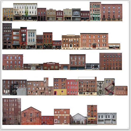 #500 N scale Commercial Buildings. 29 buildings