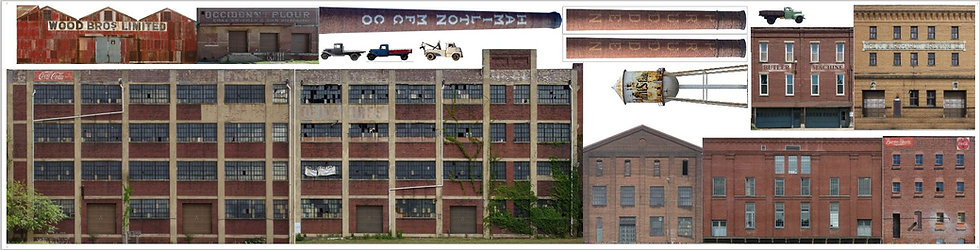 #612 O scale Industry set three almost 11 feet of buildings