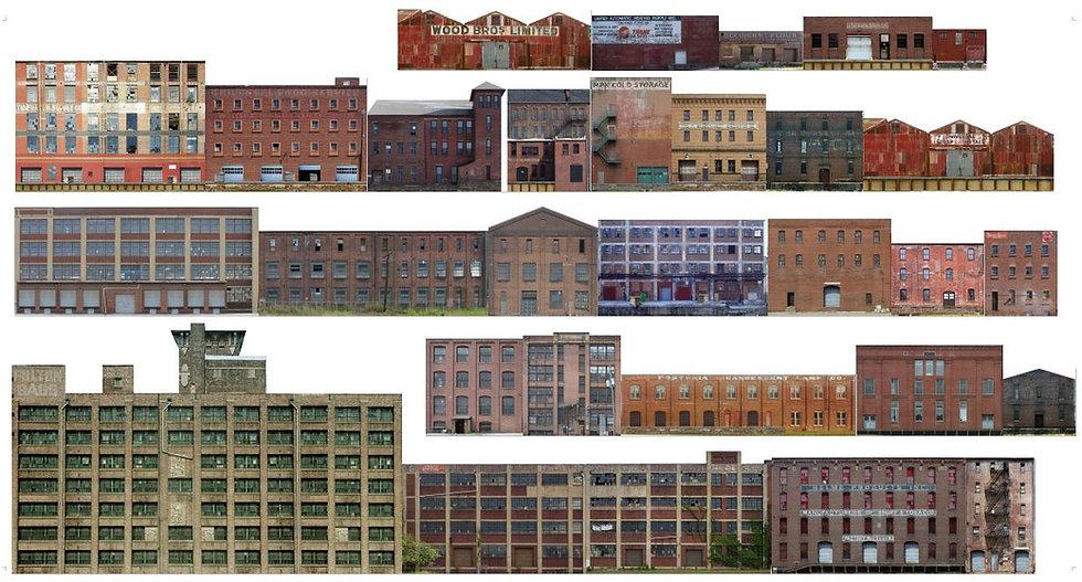 #501 N scale Industrial Buildings. 30 buildings