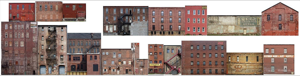 #605 O scale Commercial Rear 15 feet of buildings