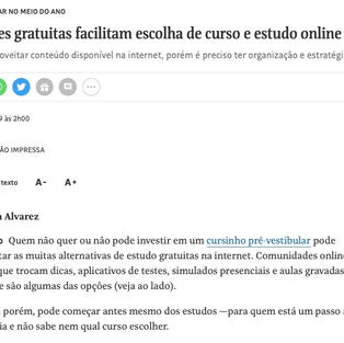 FOLHA DE SP - OPÇÕES GRATUITAS FACILITAM ESCOLHA DE CURSO E ESTUDO ONLINE