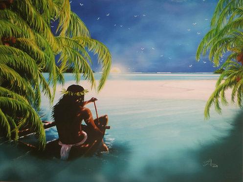 """""""Hiro quitte Bora Bora à l'aube, pour se rendre à Taha'a"""", 2018"""