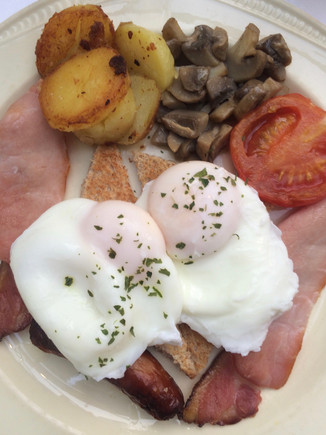 Irish Breakfast with poached eggs.