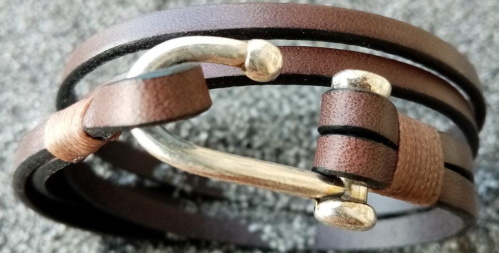 Bracelet cuir 2 tours et fermoir crochet