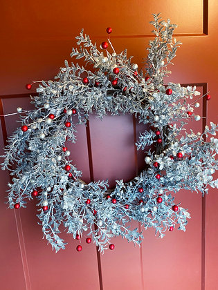 """20""""Silver Glitter Eucalyptus Wreath w/red and silver balls"""