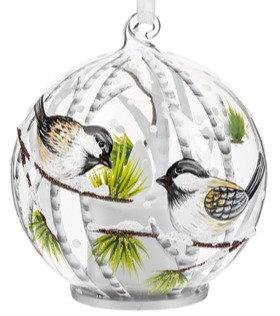 Light up Glass Chickadee Ornament - Style 2