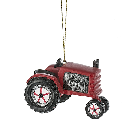 Red Farm Tractor 3 x 2.5 Inch Resin Hanging Christmas Ornament Figurine