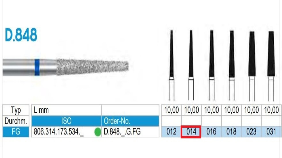 DIAMOND BURS FG (X5)          806 314 173 534 014 ( FRANK DENTAL / GERMANY)