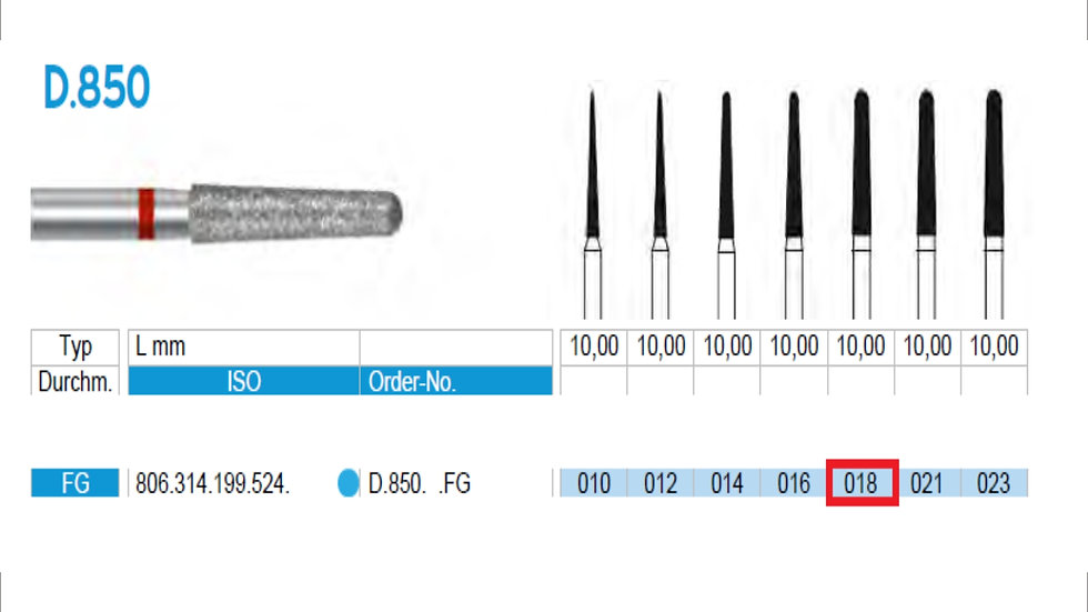 DIAMOND BURS FG (X5)          806 314 199 524 018  ( FRANK DENTAL / GERMANY)