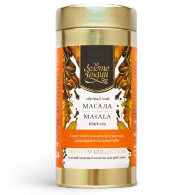 Черный чай со специями Масала, Золото Индии Premium masala, 200гр.