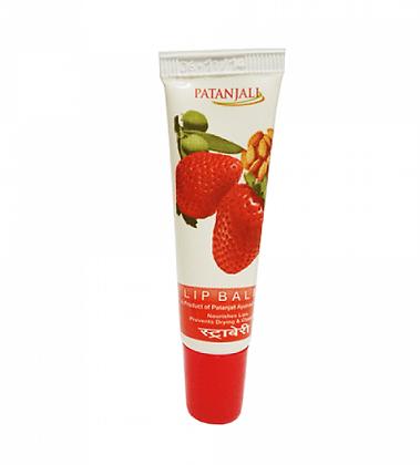 Бальзам для губ c маслом клубники, миндаля и оливы, Patanjali lip balm, 10гр.
