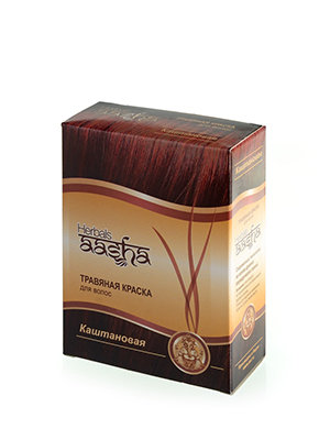 Травяная краска для волос Каштановая