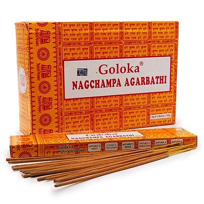 Благовония Goloka Nag Champa, Голока Наг чампа светлые с пыльцой, 16гр.