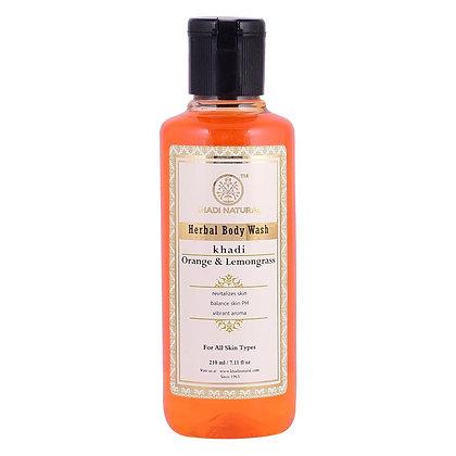 Гель для душа Кхади Апельсин и Лемонграсс, Khadi Orange Lemongrass, 210мл.
