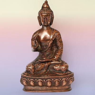 Статуэтка Будда дарящий счастье, силумин 23см.