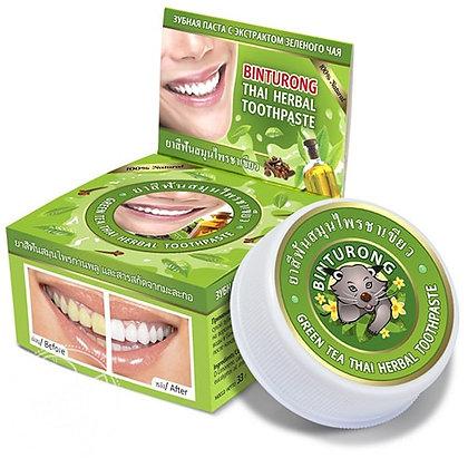 Тайская зубная паста с экстрактом Зеленого чая, Binturong Green tea, 33гр.