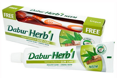 Зубная паста Ним + зубная щётка, Dabur Herb'l, 150гр.