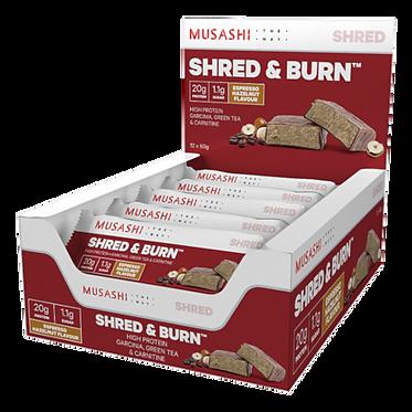 Musashi SHRED & BURN Bar 60G (Box of 12 Bars)