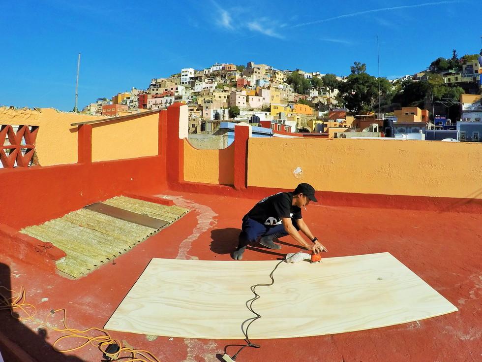 屋上が作業場