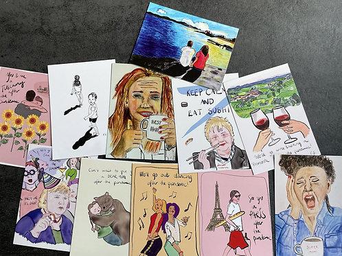 Postkort - Pakke med 11 stk