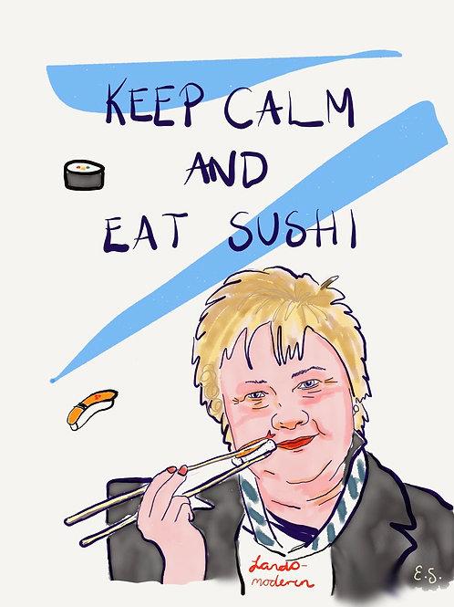 """Fine Art Print - """"Keep calm and eat sushi (Erna)"""""""
