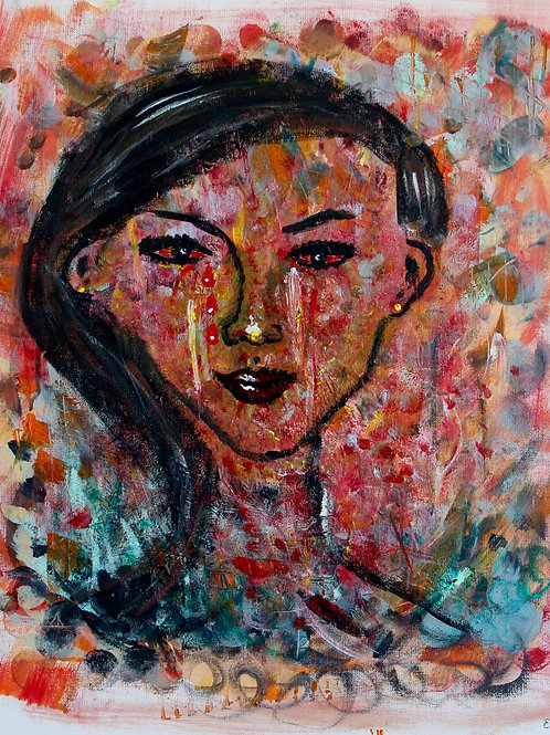Acrylic painting - Red Eyed Woman