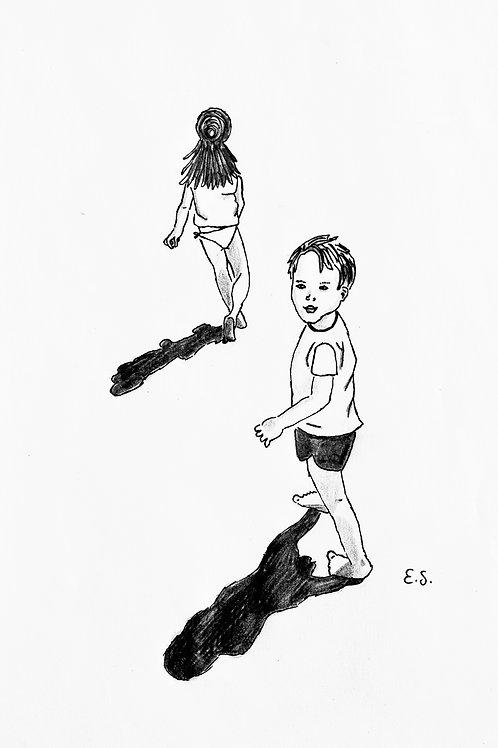 Fine Art Print - Two Kids on a Beach