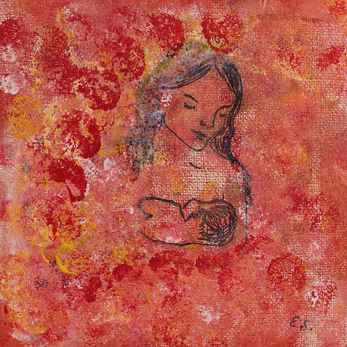 """Maleri - Acrylic painting - """"Mother and Child"""""""