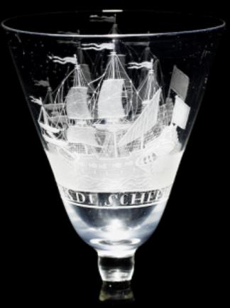 A Dutch-engraved light baluster wine glass