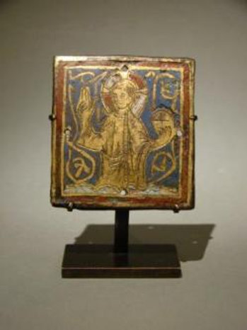 A Gothic champlevé enamel plaque of Christ